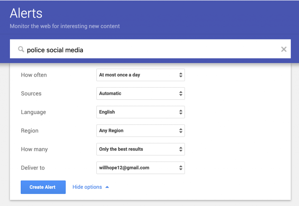 Screenshot showing how to use google alerts for content development